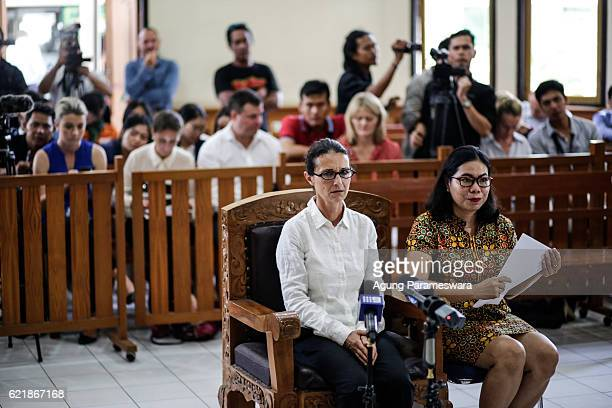 Australian Sarah Connor sits in a court room accompanied by a translator during her first trial at Denpasar court on November 9 2016 in Denpasar Bali...