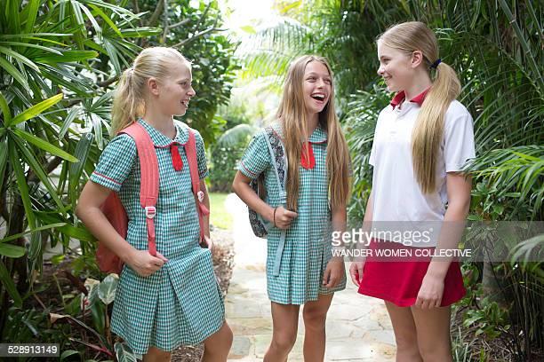 Australian school girls talking and laughing