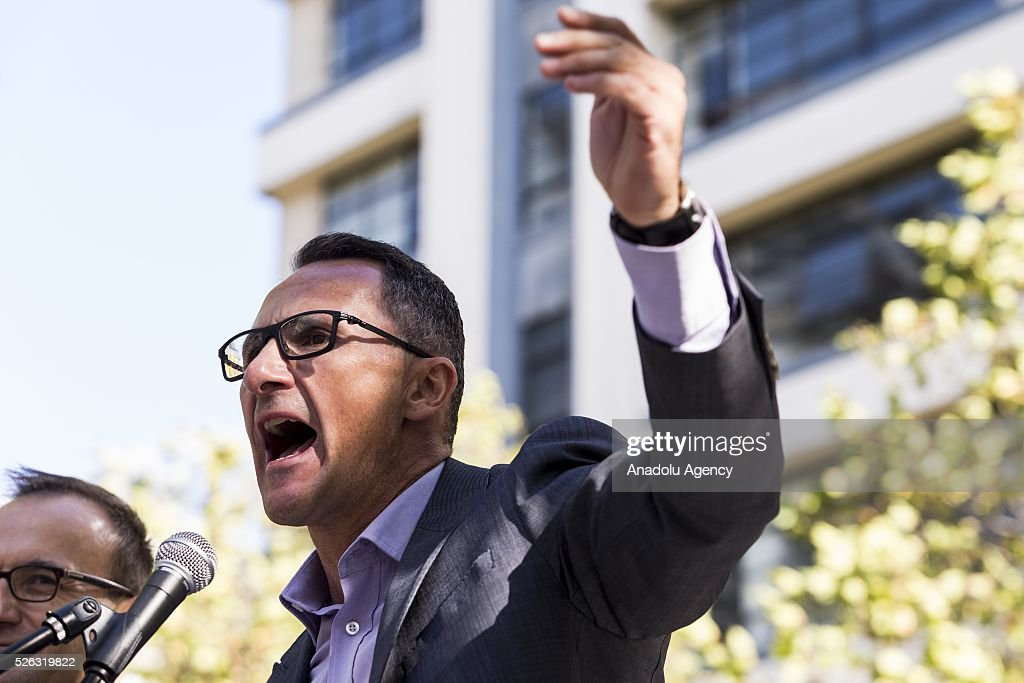 Australian senator and greens leader Richard Di Natale shouts and delivers a speech during a protest demanding that asylum seekers held in off shore detention to be brought to Australia at a rally in Melbourne, Australia on April 30, 2016. Protests have started after The Papua New Guinean Supreme Court ruled that the Australian-run detention centres on Manus Island were illegal and unconstitutional.