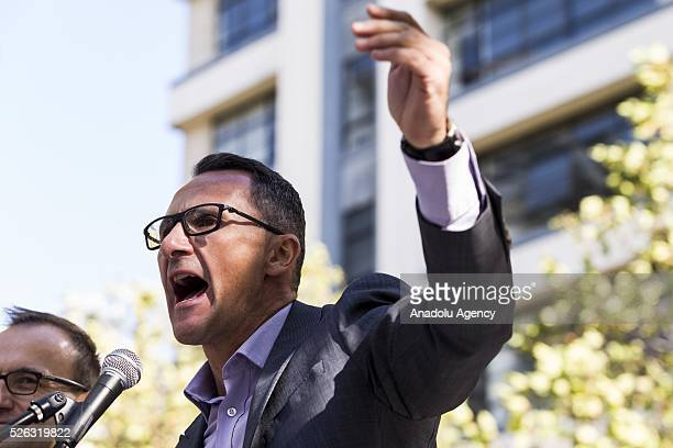 Australian senator and greens leader Richard Di Natale shouts and delivers a speech during a protest demanding that asylum seekers held in off shore...