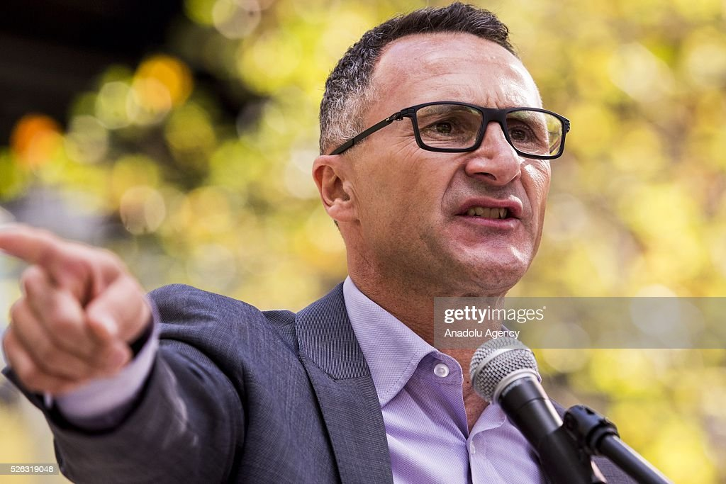 Australian senator and greens leader Richard Di Nataledelivers a speech during a protest demanding that asylum seekers held in off shore detention to be brought to Australia at a rally in Melbourne, Australia on April 30, 2016. Protests have started after The Papua New Guinean Supreme Court ruled that the Australian-run detention centres on Manus Island were illegal and unconstitutional.