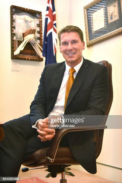 Australian Senator Cory Bernardi is pictured in his office at Parliament House in Canberra on February 7 2017 / AFP / MARK GRAHAM