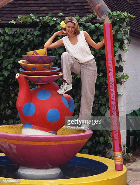 Australian singer actress and television personality Dannii Minogue in a photoshoot for the Channel 4 morning show 'The Big Breakfast' UK circa 1995