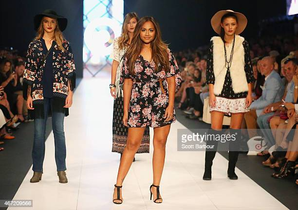 Australian singer Jessica Mauboy models designs by Target on the runway at the Target show during Melbourne Fashion Festival on March 22 2015 in...