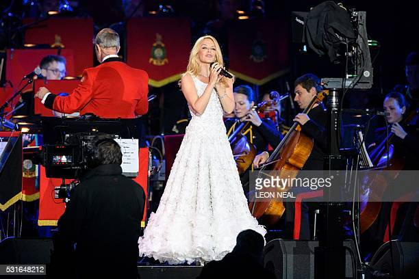Australian singer Kylie Minogue performs for The Queen during the final night of The Queen's 90th Birthday Celebrations at the Royal Windsor...
