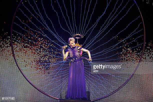 Australian singer Kylie Minogue performs on the stage of Antwerp Sportpaleis as part of her KYLIE X 2008 Tour on May 7 2008 in Merksem AFP PHOTO /...