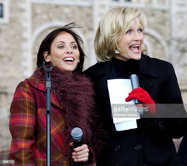 Australian singer Natalie Imbruglia appears with ABC News Anchor Diane Sawyer on ABCs 'Good Morning America' show at the Tower of London February 6...