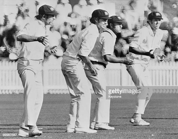 Australian slip fielders during a Test match against England Australia circa 1975 Left to right Ian Chapell Greg Chappell Doug Walters and Rick...
