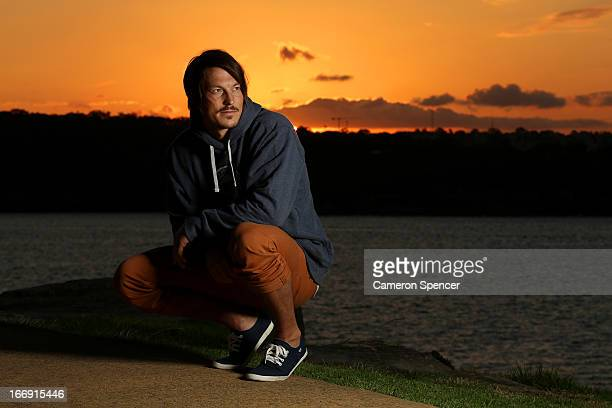Australian snowboarder Alex 'Chumpy' Pullin poses during a portrait session at Watsons Bay on April 18 2013 in Sydney Australia Pullin is the current...