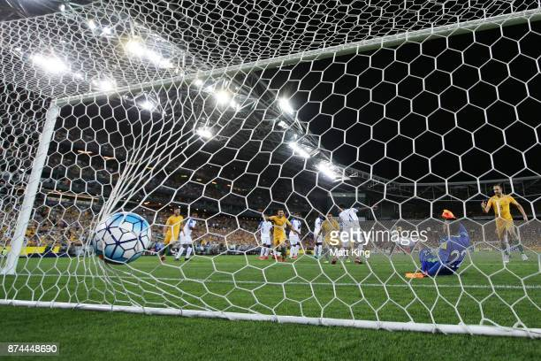 Australian Socceroos celebrate the first goal to Mile Jedinak of Australia during the 2018 FIFA World Cup Qualifiers Leg 2 match between the...