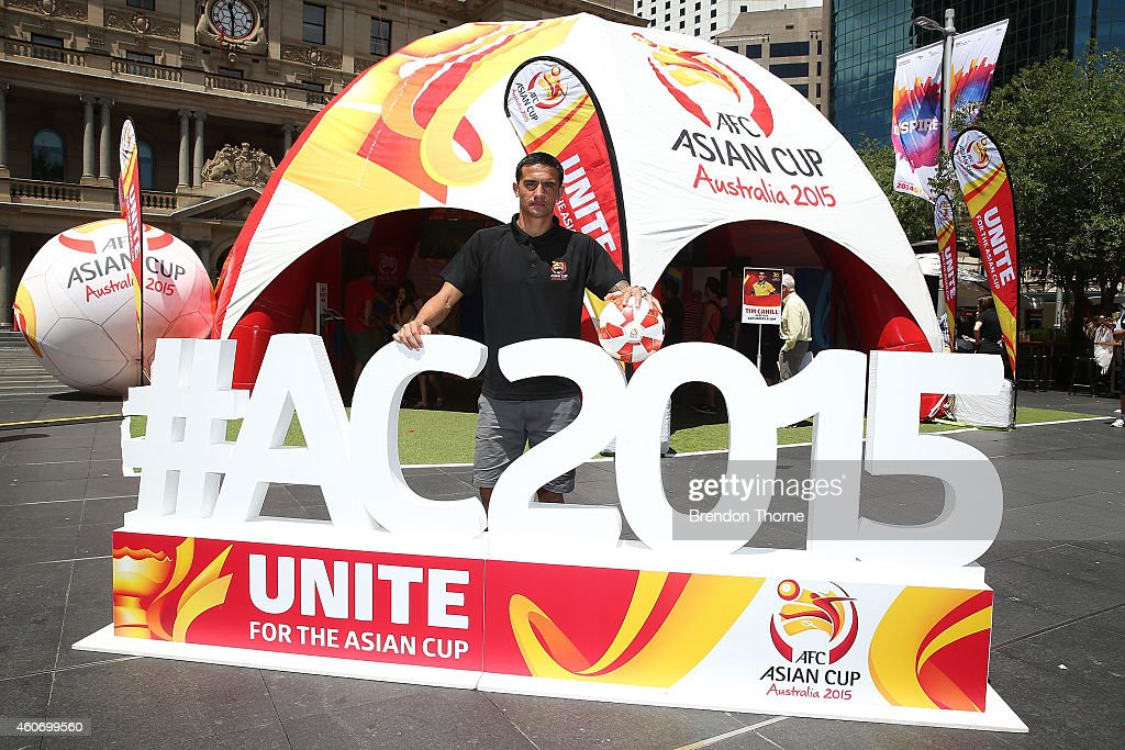Australian Socceroos player Tim Cahill poses during the launch of the Football Fan Park at Customs House on December 20, 2014 in Sydney, Australia.