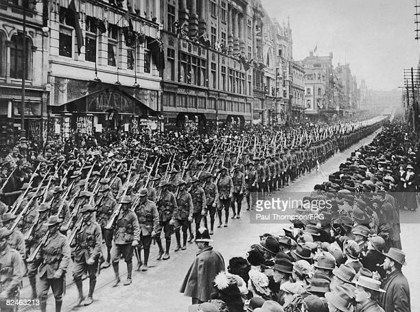 Australian soldiers from the state of Victoria march down Bourke Street in Melbourne prior to departing for the battlefields of World War I circa 1914