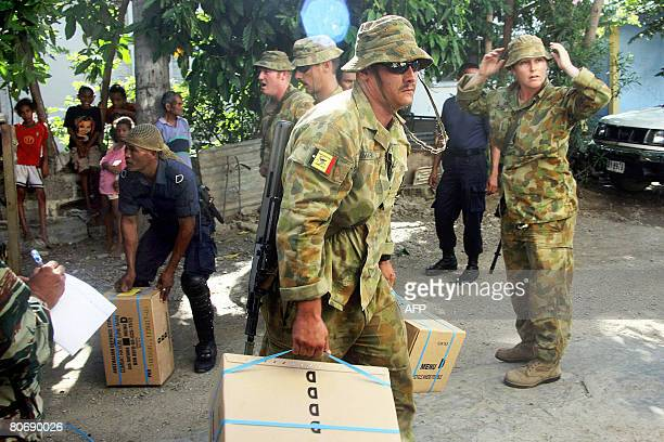 Australian soldiers from the UN peacekeeping force in East Timor bring supplies at a base in Dili on April 16 2008 Thousands of East Timorese were...