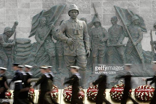 Australian soldiers walk in front of Ataturk monument during the ceremonies marking the 89th anniversary of the Anzac Day Gallipoli western Turkey 24...