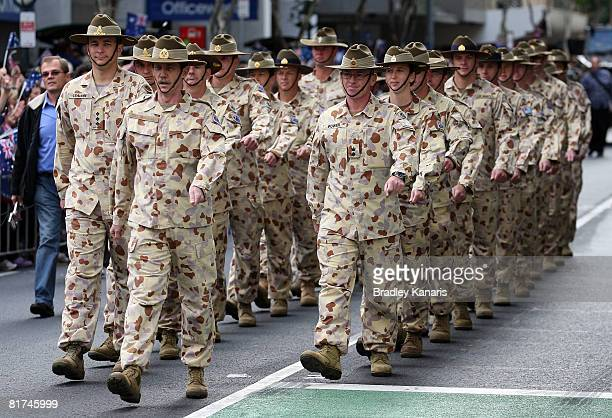 Australian soldiers who served in Iraq over the last five years march through the streets of Brisbane at the Queensland Welcome Home Parade on June...