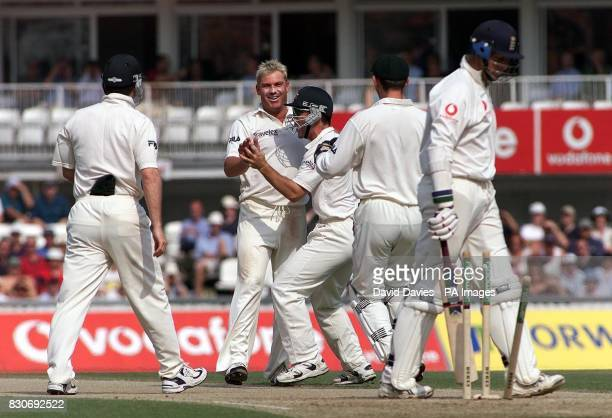 Australian spinner Shane Warne celebrates taking the wicket of England's Marcus Trescothick bowled for 55 on the third day of the npower Test match...