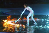 Australian sporting icon Cathy Freeman lights the Olympic cauldron 15 September 2000 in Sydney to ignite the 27th Olympiad of the modern era and the...