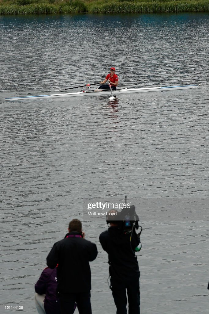 Australian Sports Minister Kate Lundy rows in Great Britain colours after conceding an Olympic Medal bet to her British counterpart Hugh Robertson on day 4 of the London 2012 Paralympic Games at Eton Dorney on September 2, 2012 in Windsor, England.