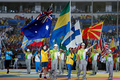 Australian standardbearer holds the flag during the Closing Ceremony of Nanjing 2014 Summer Youth Olympic Games at the Nanjing Olympic Sports Centre...
