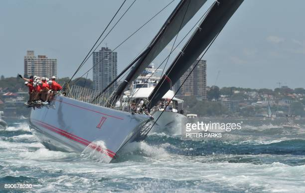 Australian supermaxi yacht Wild Oats XI yacht races in the SOLAS Big Boat Challenge on Sydney Harbour on December 12 2017 / AFP PHOTO / PETER PARKS /...