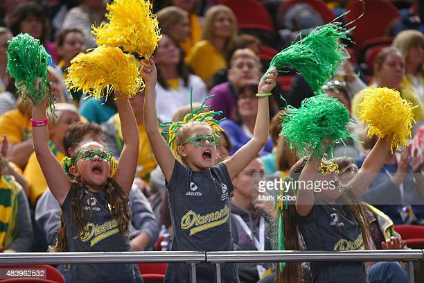 Australian supporters in the crowd cheer during the 2015 Netball World Cup match between Australia and Wales at Allphones Arena on August 14 2015 in...
