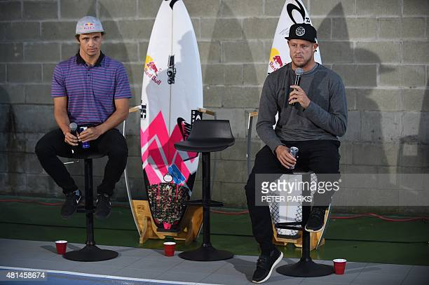 Australian surf champion Mick Fanning and his friend Julian Wilson recount their close encounter with a shark at a press conference held in Sydney...