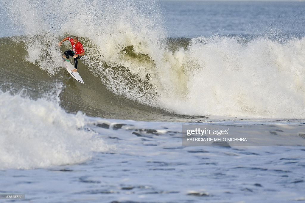 Australian surfer Adam Melling competes in the round 4 heat during the Moche Rip Curl Pro Portugal at Supertubos Beach in Peniche on October 20 2014...