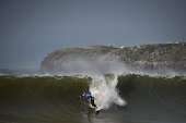 Australian surfer and current World Champion Mick Fanning competes during the Moche Rip Curl Pro Portugal at Supertubos Beach in Peniche on October...