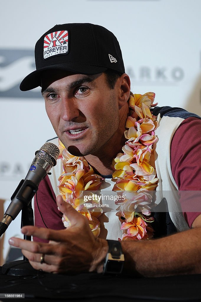 Australian surfer <a gi-track='captionPersonalityLinkClicked' href=/galleries/search?phrase=Joel+Parkinson&family=editorial&specificpeople=234875 ng-click='$event.stopPropagation()'>Joel Parkinson</a> speaks to media representatives during a press conference at the Gold Coast airport on December 19, 2012 on the Gold Coast, Australia. Parkinson won the Pipeline Masters and his first ASP World Title on Monday.