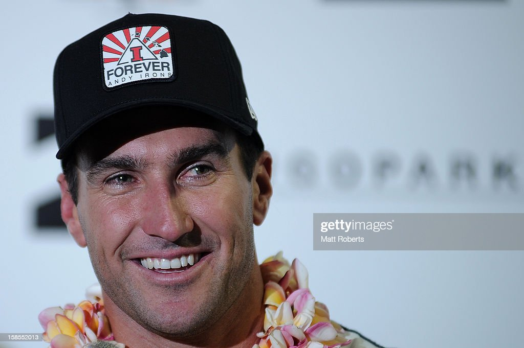 Australian surfer Joel Parkinson speaks to media representatives during a press conference at the Gold Coast airport on December 19, 2012 on the Gold Coast, Australia. Parkinson won the Pipeline Masters and his first ASP World Title on Monday.