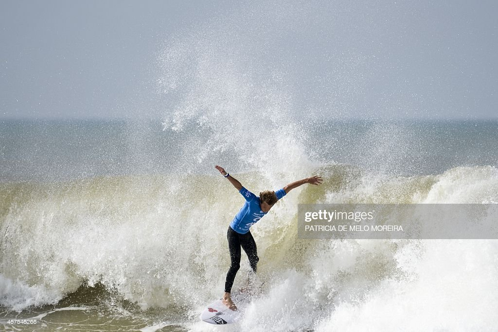 Australian surfer Kai Otton competes in the round 5 heat during the Moche Rip Curl Pro Portugal at Supertubos Beach in Peniche on October 20 2014 AFP...
