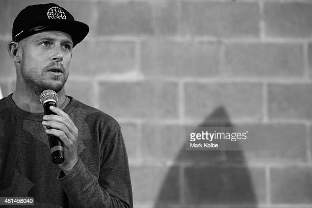 Australian surfer Mick Fanning speaks to the media during a press conference at All Sorts Sports Factory on July 21 2015 in Sydney Australia Fanning...