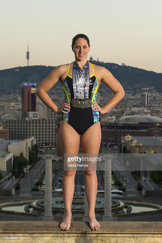 Australian swimmer <a gi-track='captionPersonalityLinkClicked' href=/galleries/search?phrase=Alicia+Coutts&family=editorial&specificpeople=2905127 ng-click='$event.stopPropagation()'>Alicia Coutts</a> poses during a portrait session following the 15th FINA World Championships, on August 5, 2013 in Barcelona, Spain.