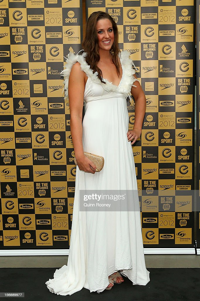Australian swimmer Brittany Elmslie arrives at the 2012 Swimmer of the Year Awards at the Melbourne Museum on November 24, 2012 in Melbourne, Australia.