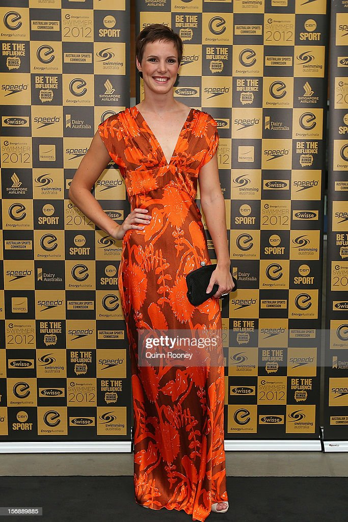 Australian swimmer <a gi-track='captionPersonalityLinkClicked' href=/galleries/search?phrase=Bronte+Campbell&family=editorial&specificpeople=7631918 ng-click='$event.stopPropagation()'>Bronte Campbell</a> arrives at the 2012 Swimmer of the Year Awards at the Melbourne Museum on November 24, 2012 in Melbourne, Australia.