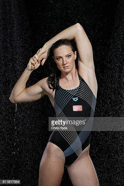 Australian Swimmer Cate Campbell poses during a portrait session on February 23 2016 in Brisbane Australia