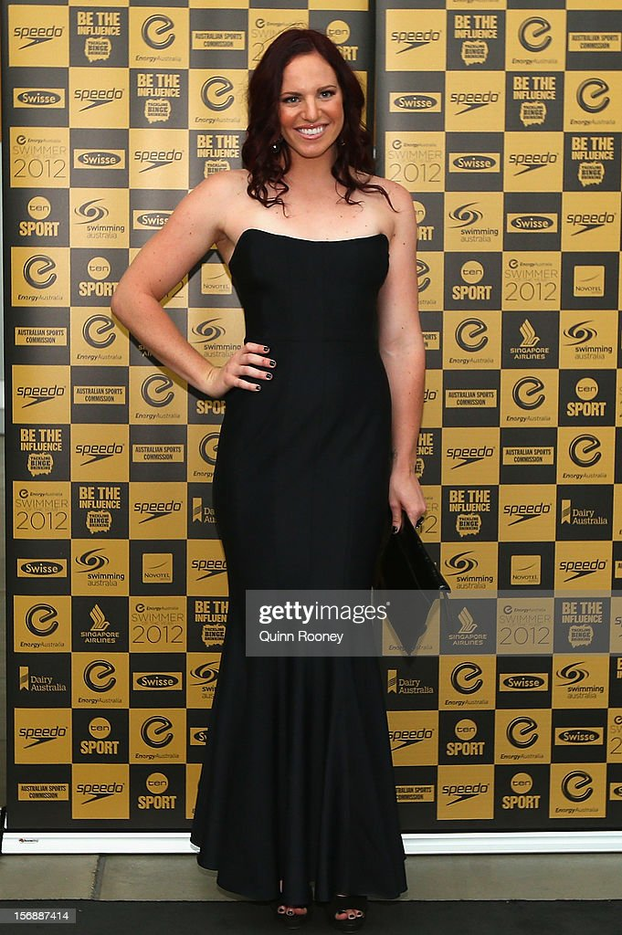 Australian swimmer Emily Seebohm arrives at the 2012 Swimmer of the Year Awards at the Melbourne Museum on November 24, 2012 in Melbourne, Australia.