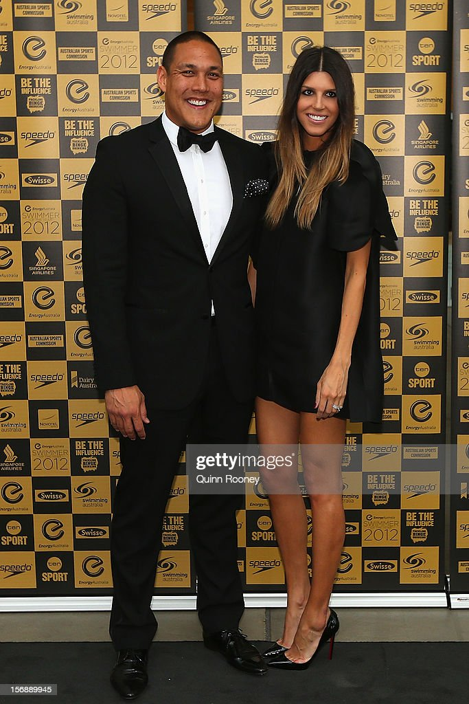 Australian swimmer <a gi-track='captionPersonalityLinkClicked' href=/galleries/search?phrase=Geoff+Huegill&family=editorial&specificpeople=206956 ng-click='$event.stopPropagation()'>Geoff Huegill</a> and wife Sara Huegill arrive at the 2012 Swimmer of the Year Awards at the Melbourne Museum on November 24, 2012 in Melbourne, Australia.