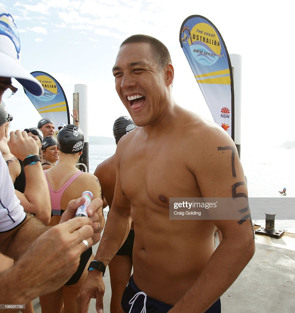 Australian swimmer Geoff Huegill smiles before the start of the Body Science Great Australian Swim Series at the Sydney Harbour on January 26, 2011 in Sydney, Australia. The inaugural ocean swim event brings people of all ages together to compete in distances between 300 metres and 2.5 kilometres against the backdrop of the Sydney Harbour.