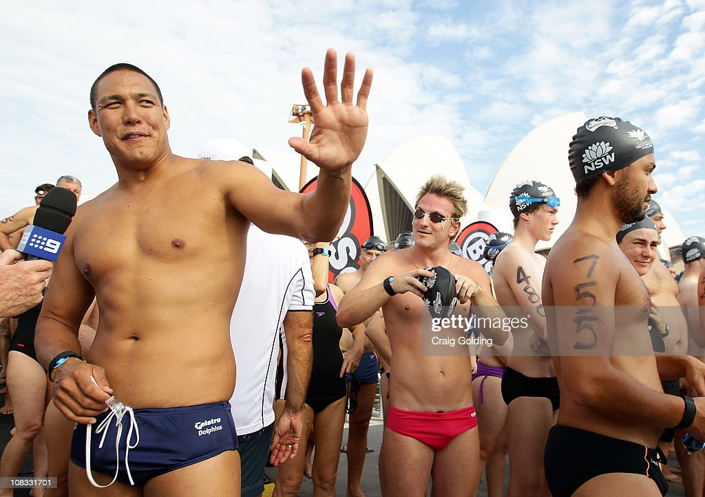 Australian swimmer Geoff Huegill waves before the start of the Body Science Great Australian Swim Series at the Sydney Harbour on January 26, 2011 in Sydney, Australia. The inaugural ocean swim event brings people of all ages together to compete in distances between 300 metres and 2.5 kilometres against the backdrop of the Sydney Harbour.