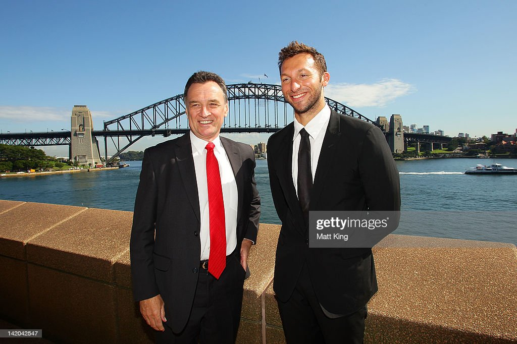 Australian swimmer <a gi-track='captionPersonalityLinkClicked' href=/galleries/search?phrase=Ian+Thorpe&family=editorial&specificpeople=162699 ng-click='$event.stopPropagation()'>Ian Thorpe</a> (R) and Federal Minister for Trade Craig Emerson (L) attend the announcement of Australia's participation in the Yeosu Expo 2012 at the Sydney Opera House on March 29, 2012 in Sydney, Australia.