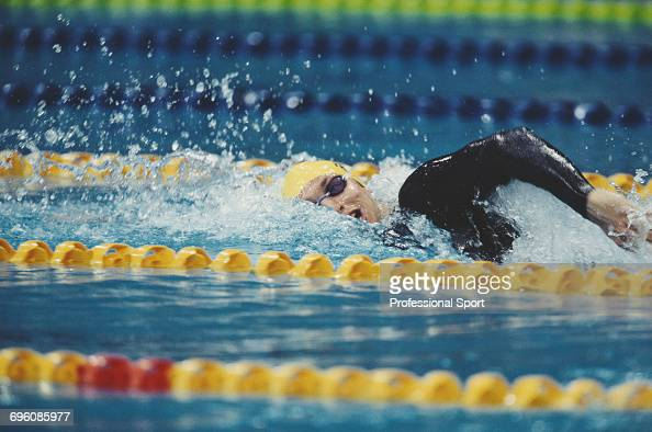 Australian swimmer Ian Thorpe competes for Australia in a freestyle swimming event at the 2000 Summer Olympics inside the Sydney International...