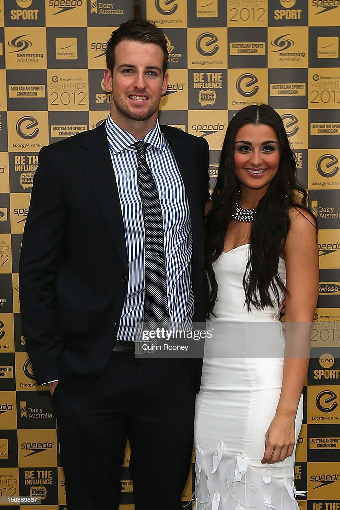 Australian swimmer James Magnussen and partner Andrea Patrulescu arrive at the 2012 Swimmer of the Year Awards at the Melbourne Museum on November 24, 2012 in Melbourne, Australia.
