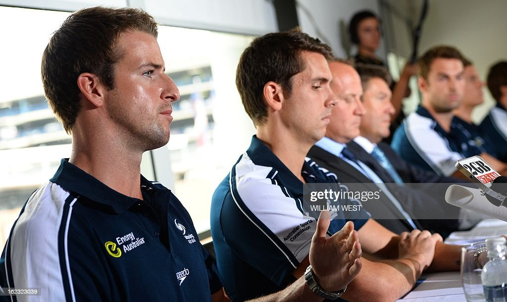 Australian swimmer James Magnussen (L) Eamon Sullivan (2/L) and members of Australia's much-hyped men's Olympic swim relay team dubbed the 'Weapons of Mass Destruction', speak at a press conference after owning up to taking part in 'stupid' pre-Games pranks, in Sydney on February 22, 2013. Members of the 4x100m freestyle relay team led by James Magnussen admitted taking Stilnox sleeping tablets at a training camp in Manchester and then making random prank calls and knocking on their team mates doors. AFP PHOTO/William WEST