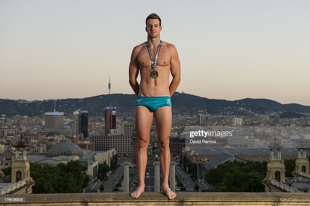 Australian swimmer <a gi-track='captionPersonalityLinkClicked' href=/galleries/search?phrase=James+Magnussen&family=editorial&specificpeople=7229851 ng-click='$event.stopPropagation()'>James Magnussen</a> poses during a portrait session following the 15th FINA World Championships, on August 5, 2013 in Barcelona, Spain.