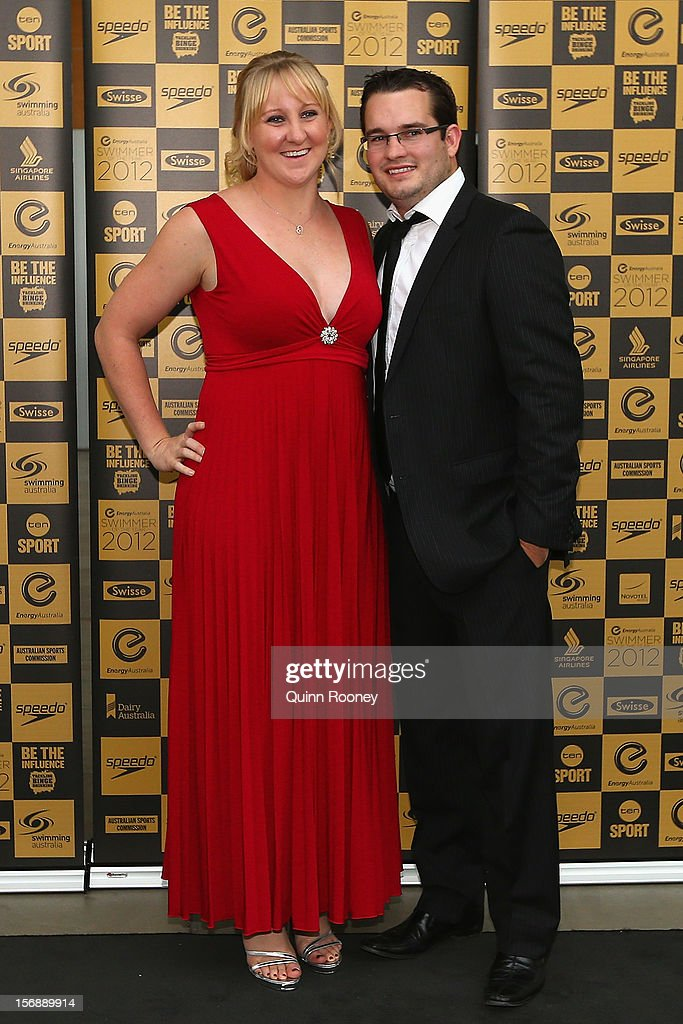 Australian swimmer Jessicah Schipper and partner Brett Gillan arrive at the 2012 Swimmer of the Year Awards at the Melbourne Museum on November 24, 2012 in Melbourne, Australia.