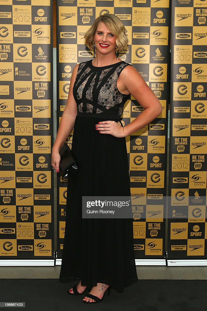 Australian swimmer Liesel Jones arrives at the 2012 Swimmer of the Year Awards at the Melbourne Museum on November 24, 2012 in Melbourne, Australia.