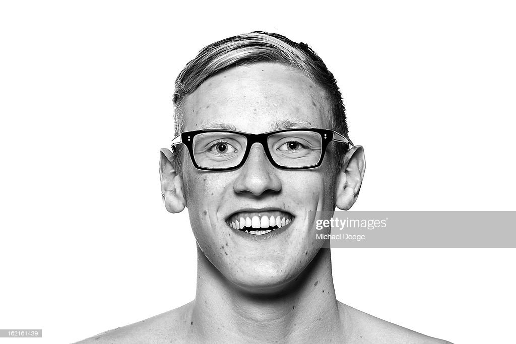 Australian swimmer <a gi-track='captionPersonalityLinkClicked' href=/galleries/search?phrase=Mack+Horton&family=editorial&specificpeople=9061058 ng-click='$event.stopPropagation()'>Mack Horton</a> poses during a portrait session at Melbourne Sports and Aquatic Centre on February 19, 2013 in Melbourne, Australia.