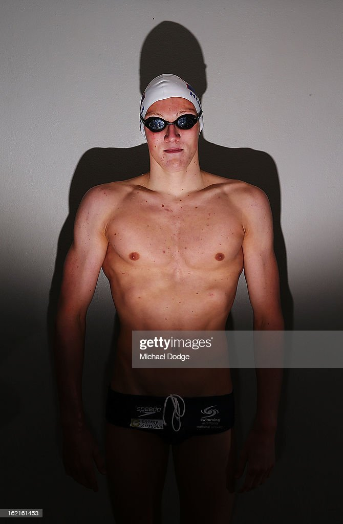 Australian swimmer Mack Horton poses during a portrait session at Melbourne Sports and Aquatic Centre on February 19, 2013 in Melbourne, Australia.