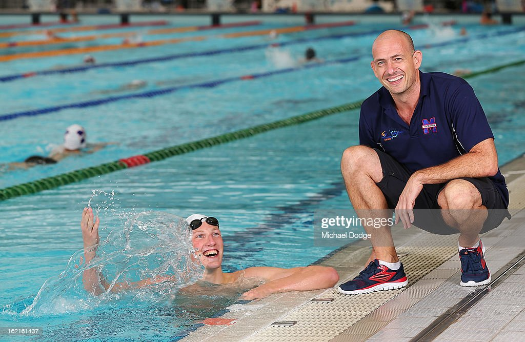 Australian swimmer Mack Horton poses with his coach Craig Jackson during a portrait session at Melbourne Sports and Aquatic Centre on February 19, 2013 in Melbourne, Australia.